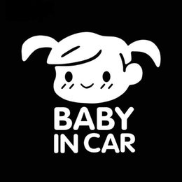 Wholesale Automotive Vinyl - Cute Little Girl Baby In Car Warning Mark Car Stickers Automotive Exterior Waterproof Reflective Vinyl Decals car-styling Jdm