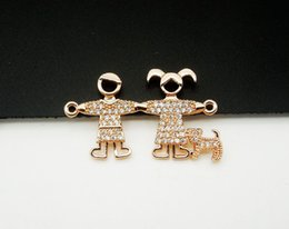 Wholesale Gold Bracelets For Boys - Wholesale 5 PCS Diamante Boy Girl Walked the Dog Connectors, Take a walk Rose gold ,DIY Bracelet Connected Accessories For jewelry Finding