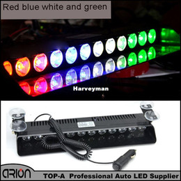 Wholesale Led Lights Fire Trucks - 12 LED CE Strobing Warning Amber Blue White Green Lightbar Fireman Policeman Flashing Emergency Warning Fire Flash Car Truck