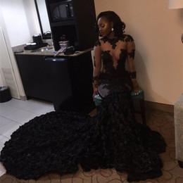 Importa le ragazze abiti online-Sexy Black Girls Prom Dresses Mermaid Lace Appliques Bling con paillettes trasparente manica lunga abito da sera importato africano
