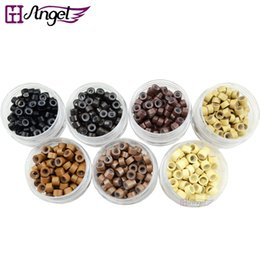 Wholesale Micro Link Kits - GH Angel 5.0mm silicone micro rings tools links hair beads hair extension rings for human hair extensions dreadlocks kits 7 Colors available