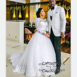 Wholesale Discount Lace Up Bridal Gowns - Middle East African Women Long Sleeves Lace Wedding Dresses Sheer Neck Delicate Appliques Beads Puffy A Line White Discount Bridal Gown