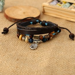 south korea popular jewelry Promo Codes - Japan and South Korea new popular jewelry leather bracelet wholesale beaded pure handmade leather bracelet personalized jewelry