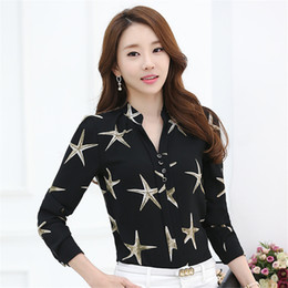 Wholesale Pleated Sleeve Blouse - New Female Korean Chiffon Shirt Starfish Printed Blouse Silm V-neck Shirts Spring autumn Long Sleeve Blouses Women Clothing