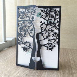 laser cutting wedding card designs Promo Codes - 50pcs lot Free shipping Laser Cut Happy tree design Wedding Business anniversary Party paper Invitation Cards with Inner Blank Paper