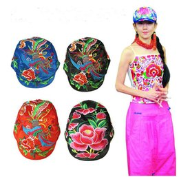 Wholesale Chinese Adults Girls - Wholesale4pcs Charming Chinese Handmade National Style Embroidery Women's Hat