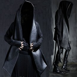 Wholesale Hooded Winter Trench Coat Men - Wholesale- Men's Fashion Leather Long Hooded Woolen Trench Coats Black Gothic Cloak Overcoat Hot-selling 2016 Winter New