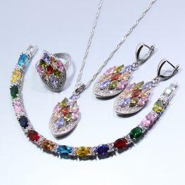 Wholesale Best Jade Bracelet - Best Selling 925 Silver Jewelry Set Multicolor Created Earring Necklace Bracelet Pendant Ring For Women Free Gift