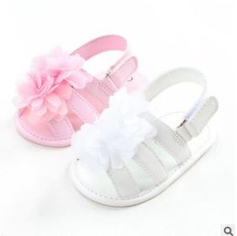 Wholesale Toddlers Leather Sandals - Newborn Princess Baby Shoes Sandals 2017 Summer Flower PU Leather Princess Baby Girl Shoes Toddler Prewalker Baby First Walker 228