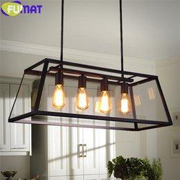 Wholesale Modern Ceiling Light Rectangular - FUMAT RH Loft Edison Box Chandelier Rectangular Pendant Lamp Iron Plexiglass Chandelier Loft Edison Bulb Glass Box Ceiling Lamp110-240V