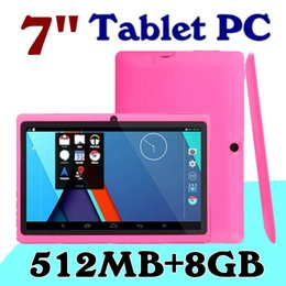 Wholesale 7inch Tablet Pc Android 8gb - 5X Cheap 7inch Q88 Dual camera A33 Quad Core Tablet PC Android 4.4 OS Wifi 8GB 512M RAM Multi Touch Capacitive Bluetooth Tablet Xmas A-7PB