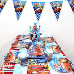 sacchetti di compleanno all'ingrosso all'ingrosso Sconti All'ingrosso- 162pcs \ lotto Decorazione Tovaglia Cars Tema Happy Birthday Party Gift Bags Bambini Favori Banner Baby Shower Piatti Tazze Forniture