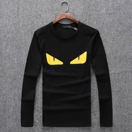 Wholesale Modal Tees Tops - New Fashion Brand Modal devil eye print Designer spring autumn Color Sleeves Vacation Long Sleeve Tees Casual Printing Tops V9005