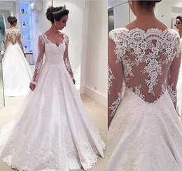 Wholesale Cap Chinese For Wedding - 2017 Sleeved Wedding Dresses A-line Long Illusion Sexy Back Satin Appliques Lace Sweetheart Bridal Gowns Garden Chinese Dress For Brides