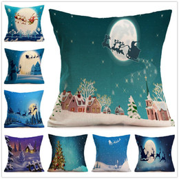 Wholesale Sofa Cushions Covers Material - Christmas Pillow Case festival Decorative Pillow Cover Car Sofa Cushion Santa Claus Reindeer Xmas Gift Linen material 2017 Free Ship