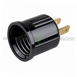 Wholesale outlet lamps - Non-Grounding Usa plug Ploarized Socket Adapter Converts Outlet to E26 Lamp Socket 125 Volt 2-Wire NEMA 1-15R Black 125VAC 660W MYY
