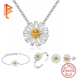 Wholesale Daisies Pendant Necklace - BELAWANG New Item 925 Sterling Silver Daisy Jewelry Set for Women Daisy Pendant Necklace Bracelet Ring Earrings Wedding Christmas Day Gift