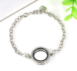 Wholesale Cheap Floating Charms Lockets - 10pcs 30mm Silver Crystal Rhinestone Round Link Chain Living Memory Locket Bracelet For Floating Charms Cheap Price