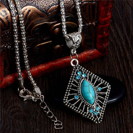 Wholesale Alloy Geometric Necklace - Wholesale- H:HYDE 2017 Fashion Antique Stone Geometric Shape Pendant Long Chain Necklace Jewelry For Women