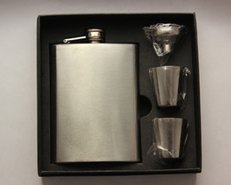 Wholesale Stainless Steel Whiskey - 8oz stainless steel hip flask set with 2pcs cups and 1pcs funnel Portable pocket wine bottle whiskey hip flask
