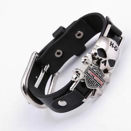Wholesale Wide Bracelets - 2017 Rider Harley Motor Cycles Punk Skull Rivet Men Bracelets Wide Leather Bracelet Retro Cuff Rivet Bangles Cowboy