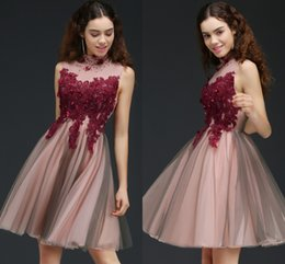 Wholesale Spring Dress Models For Girls - Cheap 3D Appliques Beaded Short Homecoming Dresses High Neck Keyhole Back Graduation Gown Party Dresses For Girls 2017 New CPS664