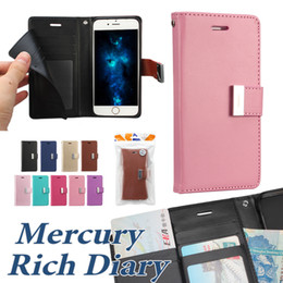 Wholesale Iphone Bags Leather - For Iphone X 8 8 Plus Wallet Case Mercury Rich Diary Case For Iphone 7 Plus PU Leather Case TPU Cover With Card Slot Side Pocket OPP Bag