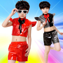 Wholesale Popular Girl Clothing - 2PCS Children's Day Popular Modern Jazz Dance Costume Girl Stage Wear Hip Hop Boy Clothing and Shorts Wholesale Free Shopping