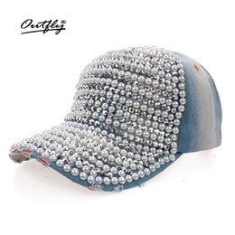 Wholesale Wholesale Denim Hats - Wholesale- fashion Diamond pearl cowboy hat women Denim snapback baseball cap Female Casual Cap summer cap Rhinestone Leisure jean Hat