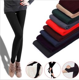 Wholesale knitted leggings warm thick - Women Winter Thick Warm Fleece Faux Velvet lined Legging Knitted Thick Slim Leggings Tights Super Elastic pantyhose KKA2870