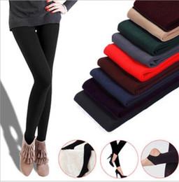 Wholesale super slimming leggings - Women Winter Thick Warm Fleece Faux Velvet lined Legging Knitted Thick Slim Leggings Tights Super Elastic pantyhose KKA2870