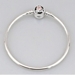 Wholesale Enamel Rhinestone Flower Clips - 1pcs Fashion Genuine 100% 925 Sterling Silver Pink Flower Round Clip Bangle Fit European Charm Bead Authentic Luxury DIY Jewelry Gift