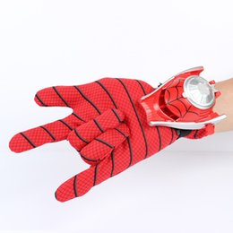 Wholesale Amazing Spiderman 11 - mazing spiderman Amazing Spiderman Action Figure Flying saucer Launcher with LED Mask with Hero Glove Role Play Toy Kid Brinquedo slinger...