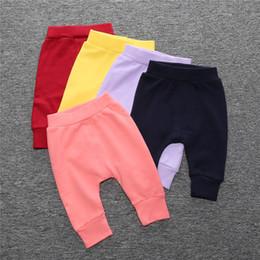 Wholesale Little Pink Underwear - Spring Autumn Baby 100% Cotton Solid Harem Pants Infant Toddler Loose Trousers Girl Boy Pajamas Underwear Little Children Kids Wear Bottom