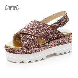 Wholesale handmade cloth shoes - LTTL 2017 Runway Sandal Glitter Crisscross brand peep toe handmade glitter Platform Sandal bling Fashion slingback shoes