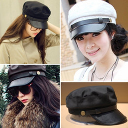 Wholesale leather hat buckles - Retro Navy Cap Fashion With Metal Buckle Decoration Hat Adults Sunshade Hats For Men And Women 9 5bd B