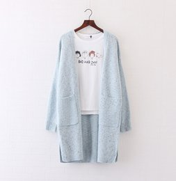 Wholesale Lined Sweater Coats - Wholesale-Color line knitted cardigan sweater coat v-neck long sleeve pocket sweater autumn