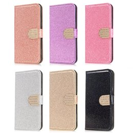 Wholesale Powder Stand - For Galaxy S8 Case S8 Plus Luxury Bling Glitter Sparking Wallet Leather Diamond Luxury Fashion Powder Sparkle Flip Cover Card Skin Stand