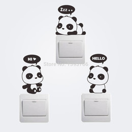 Wholesale Carton Wall Stickers - Free DHL Mixed order New Cheap Carton Panda Switch Refrigerator Car Wall Stickers kids room mural Home Decoration
