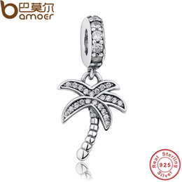 sterling slide bracelet Promo Codes - Pandora Authentic 925 Sterling Silver Sparkling Clear CZ Palm Tree Dangle Charm Fit Bracelet Necklace Jewelry Making