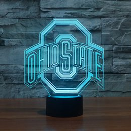 Wholesale Free Gift Logo - Free Shipping Ohio State Logo 3d Lamp Night 7 Color Change,Best Gift Night Light LED Furnish Desk Table Lighting Home Decoration Toys