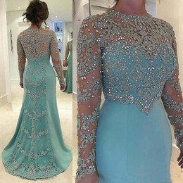 Wholesale Mother Bride Dresses Petite - Light Blue Illusion Long Sleeve Party Dresses Evening Wear 2017 Jewel Lace Sheer Satin Mermaid Plus Size Mother Of Bride Prom Gown Custom