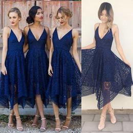 Wholesale irregular hem dresses - 2017 New Style Elegant Tea Length Blush Pink Lace Bridesmaid Dress Irregular Hem V Neck Maid of Honor Country Wedding Guest Gowns