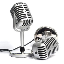 Wholesale Microphone Classic - New Arrival Wholesale 3.5mm Stereo Retro Microphone Classic Vocal Mic Studio Record For PC Laptop Computer Personalized Free Shipping
