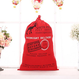 Wholesale Large Outdoor Christmas Decorations Wholesale - Christmas Drawstring Bag Organic Heavy Large Santa Sack Xmas Reindeer Gift Claus Bag Canvas Decor Decorations Party for Kids Children