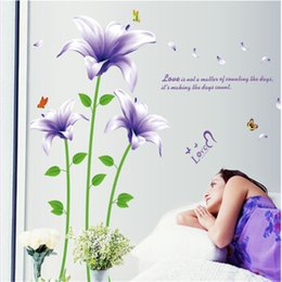 Wholesale Decals For Purple Room - 60*90cm Wall Stickers DIY Art Decal Removeable Wallpaper Mural Sticker for Bedroom Living Room AY9242 Purple Lily Flowers