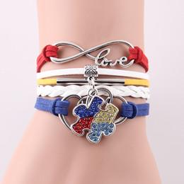 Gros-Infinity Love Hope Autisme Awareness Bracelet Strass Puzzle Morceau Charme bracelets bracelets pour femmes hommes bijoux ? partir de fabricateur