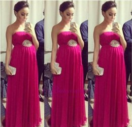 Wholesale Strapless Peplum Dresses - 2017 Summer Fuchsia Chiffon Long Evening Dresses for Pregnant Women Sexy Backless Pleats Strap[less A Line Evening Party Gowns