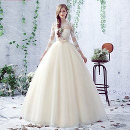 Wholesale Most Beautiful Princess Wedding Dresses - bow high quality noble women wedding dress princess ball gown lace sexy women dress in marriage day be the most beautiful lady bride dresses