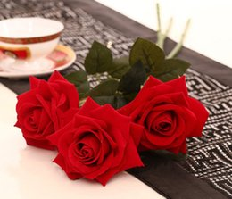 Wholesale Bloom Party - Wholesale 26.8inch Big blooming Red-rose Artificial Flowers Flocking Red Roses Wholesale Display Flower for Home decorations Wedding Party